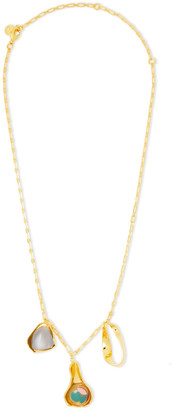 EJING ZHANG Dyce 18-karat Gold-plated, Resin And Cat's Eye Necklace