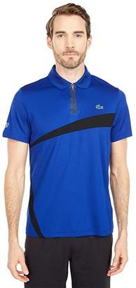 Lacoste Short Sleeve Zipper Placket Color-Block Polo (Prussian Blue/Black) Men's Clothing