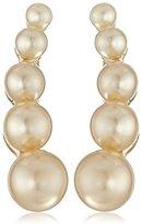 Sam Edelman Small Pearl Champagne Crawler Earrings