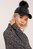 Missguided Faux Leather Pom Pom Hat Black