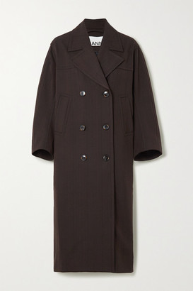 Ganni Oversized Double-breasted Prince Of Wales Checked Gabardine Coat - Brown