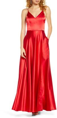 Sequin Hearts Dual Strap Satin Ballgown