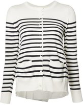 Sacai striped cupro insert cardigan