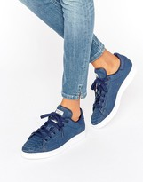 adidas Navy Embossed Snake Suede Stan Smith Unisex Trainers