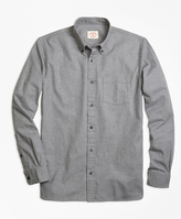Brooks Brothers Herringbone Brushed-Cotton Flannel Sport Shirt