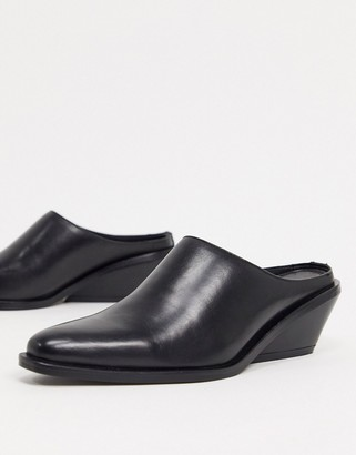 ASOS DESIGN Mila leather western mules in black