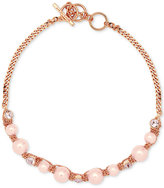 Givenchy Rose Gold-Tone Pink Crystal and Imitation Pearl Collar Necklace