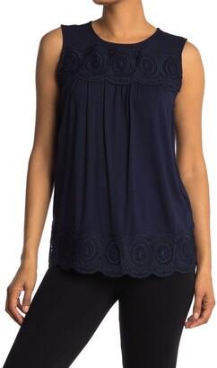 Adrianna Papell Sleeveless Knit Crochet Top