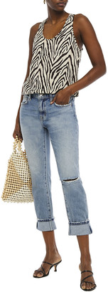 Current/Elliott The Fling Cropped Distressed Mid-rise Straight-leg Jeans