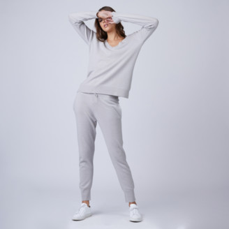 DSTLD Ribbed Cashmere Joggers in Stone