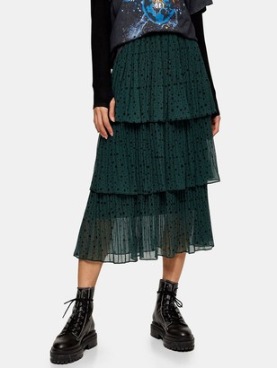 Topshop Star Tiered Pleat Midi Skirt - Green