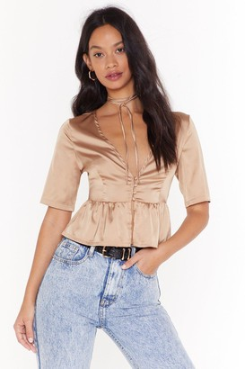 Nasty Gal Womens Satin Tie Blouse with Plunge Neckline - Champagne