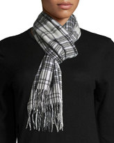 Neiman Marcus Grid Plaid-Print Cashmere Scarf, Light Gray/Black