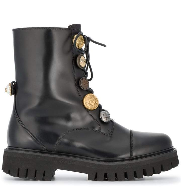 Dolce & Gabbana biker boots with button embellishment