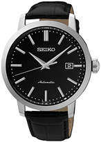 Seiko Srpa27k1 Automatic Date Leather Strap Watch, Black