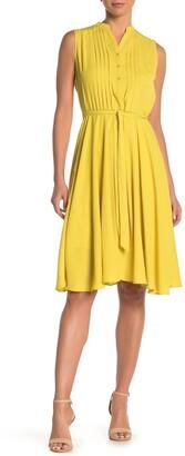 Nanette Lepore Mock Collar Sleeveless Pintuck Dress