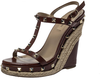 Valentino Brown Leather Rockstud Wedge Platform Ankle Strap Sandals Size 37