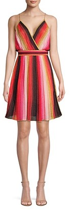M Missoni Metallic Striped Blouson Flare Dress