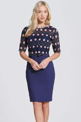 Paper Dolls Outlet Navy and Blush Crochet Top Dress