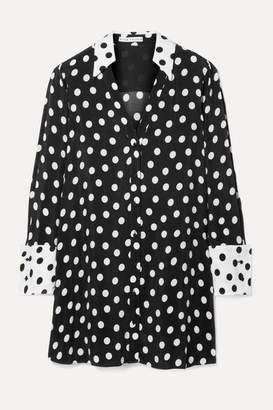 Alice + Olivia Alice Olivia - Halima Polka-dot Crepe Mini Dress - Black