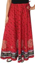 Maple Clothing Womens Cotton Long India Skirt Block Printed Indian Fashion Clothing (Maroon)