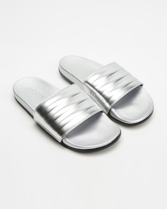 adidas Women's Silver Flat Sandals - Adilette Comfort Slides - Women's - Size 7 at The Iconic