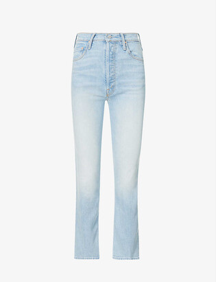Mother The Tripper straight wide-leg high-rise stretch-denim jeans