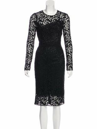 Dolce & Gabbana Crochet Midi Dress Black