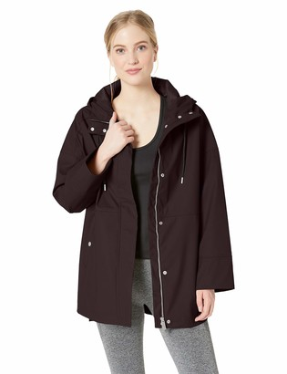 Calvin Klein Women's Hi Lo Hooded Rain Slicker