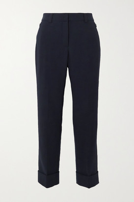 Akris Cropped Wool-blend Straight-leg Pants - Navy