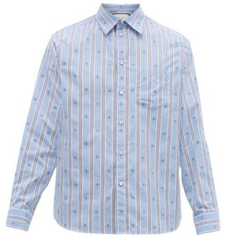 Gucci Striped Intarsia-bee Cotton-poplin Shirt - Mens - Blue Multi