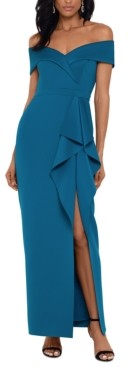 Xscape Evenings Off-The Shoulder Ruffled Gown
