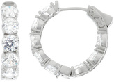 Cubic Zirconia & Silvertone Hoop Earrings