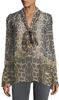 Equipment Jacqueleen Tie-Neck Long-Sleeve Leopard-Print Chiffon Blouse