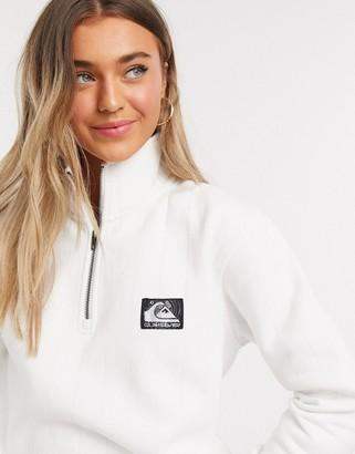 Quiksilver Boxy 1/4 zip fleece in white