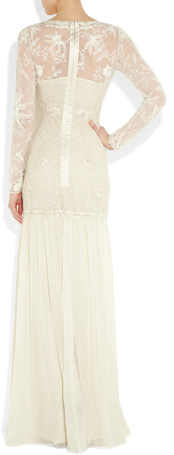 Temperley London Belle embroidered lace and silk-chiffon gown