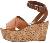 Lanvin Crossover Cork Wedges