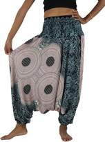 NaLuck Women's Boho Hippie Peacock baggy Jumpsuit Smocked Waist Yoga Harem Pants PH12