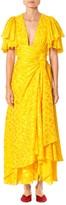 Carolina Herrera Asymmetric Satin Jacquard Ruffle Dress