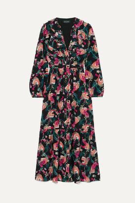 Saloni + Venyx Ginny Ruffled Printed Silk Crepe De Chine Midi Dress - Black