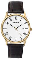 Sekonda 3676.27 Date Dial Leather Strap Watch, Brown/white