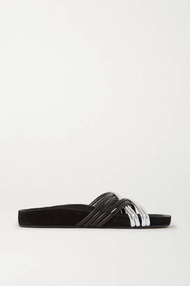 Isabel Marant Hellya Two-tone Leather Slides - Black
