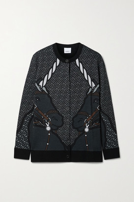 Burberry Printed Merino Wool-blend Cardigan - Black