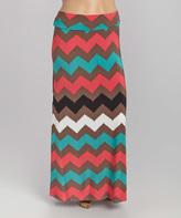 Brown & Teal Chevron Maxi Skirt - Plus