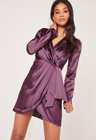 Missguided Silky Long Sleeve Wrap Shift Dress Dusky Purple