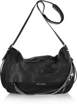 Biker chain-embellished leather shoulder bag