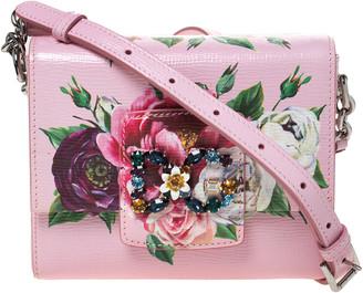 Dolce & Gabbana Pink Printed Leather Millennials Crossbody Bag