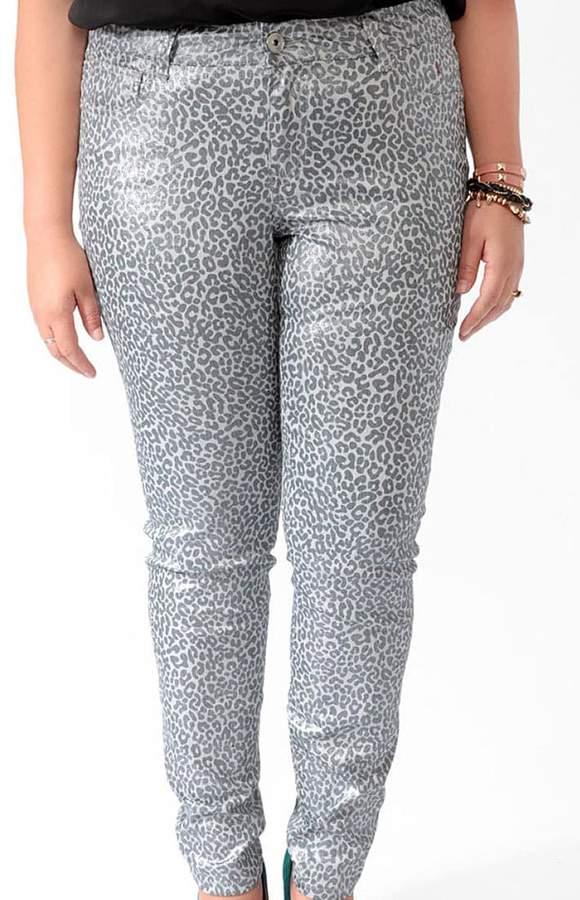 Forever 21 FOREVER 21+ Plus Size Metallic Animal Print Skinny Jeans