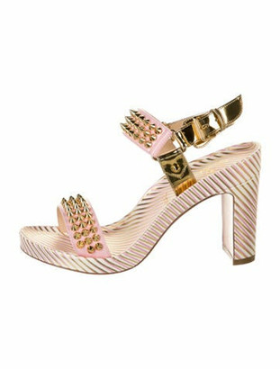 Christian Louboutin Patent Leather Striped Sandals w/ Tags Metallic