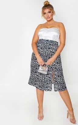 PrettyLittleThing Plus Monochrome Leopard Print Floaty Midi Skirt